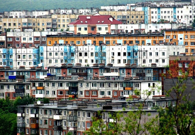 Soviet Era Apartment Blocks, Petropavlovsk -Kamchatsky, Russia. I have a fascination with this type of Soviet architecture.