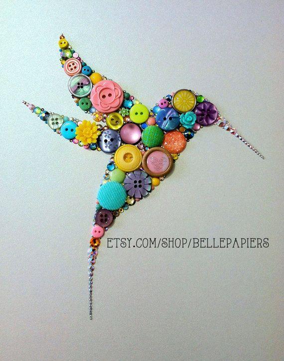 "Button Hummingbird Button Art & Swarovski Crystal Art 8""x10"""