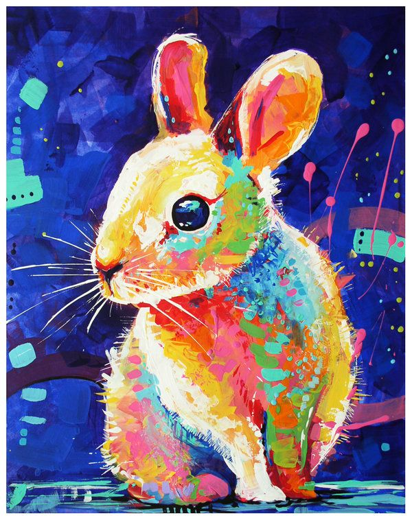 Bunny 2 By TooMuchColor · Colorful PaintingsAnimal ...