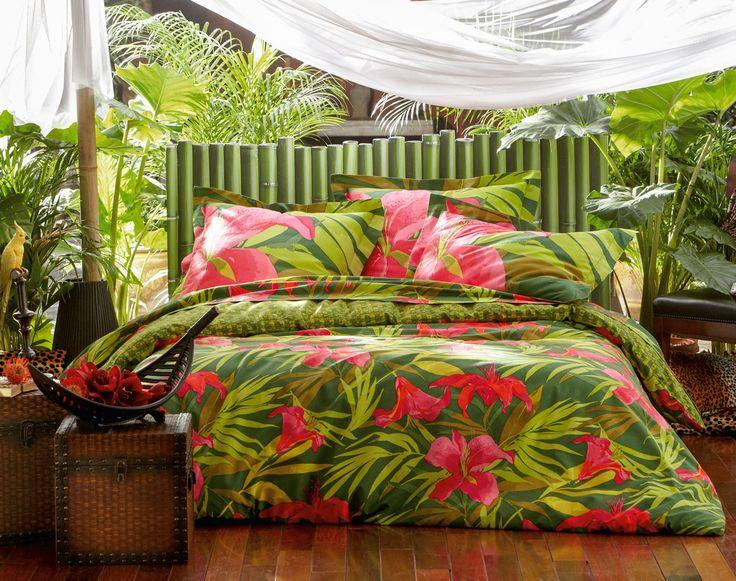 Linge de lit impression  motif tropical | Linge de lit patchwork motif coeurs et flocons