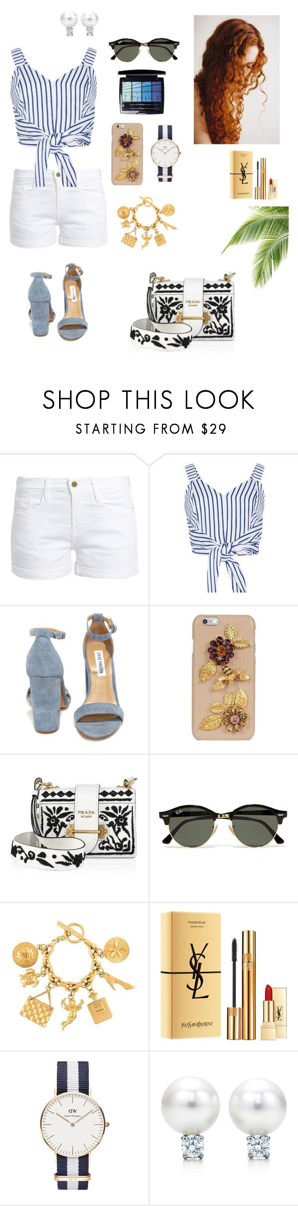 """""""#205"""" by tamara-wolfram ❤ liked on Polyvore featuring Frame, WithChic, Steve Madden, Dolce&Gabbana, Prada, Ray-Ban, Chanel, Yves Saint Laurent, Daniel Wellington and Christian Dior"""