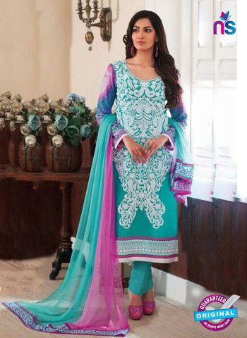 Rivaa14702A - Pink & SkyBlue Color Cotton Designer Suit
