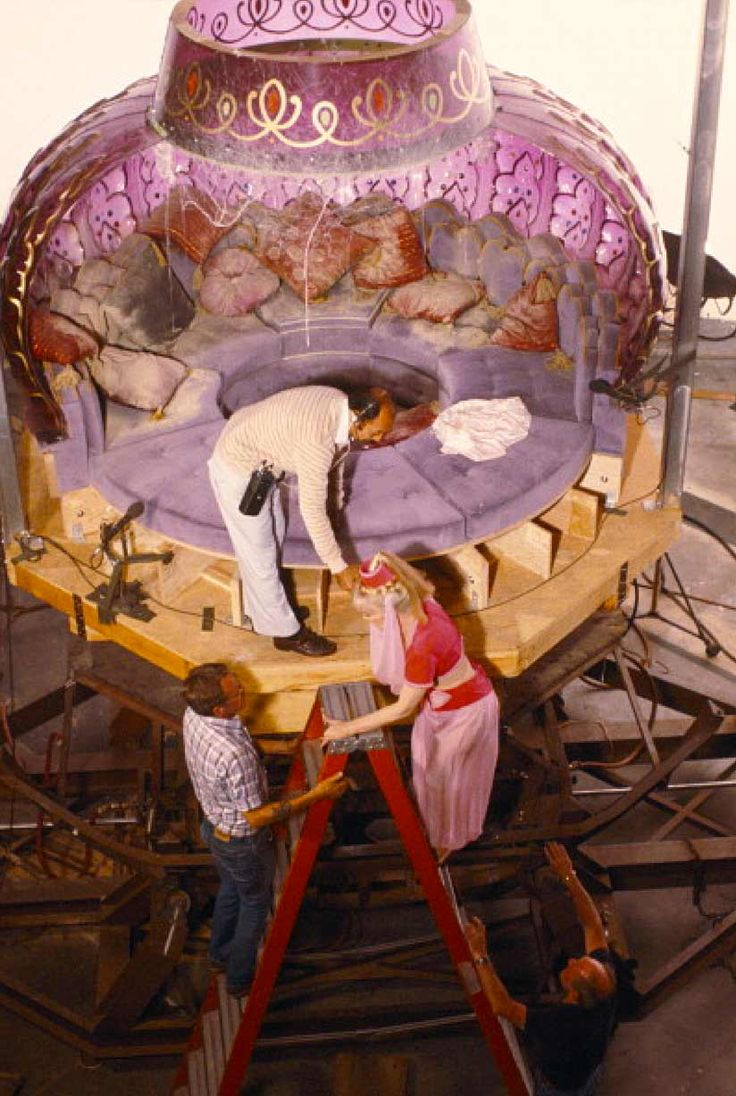 "I Dream of Jeannie ~ Barbara Eden on the ""Bottle"" set, inside Jeannie's lamp. I just love behind-the-scenes stuff."