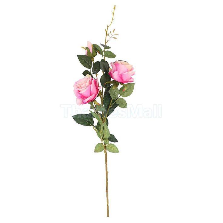 Artificial Rose Faux Silk Foral Wedding Home Flower Arrangement Decor Pink