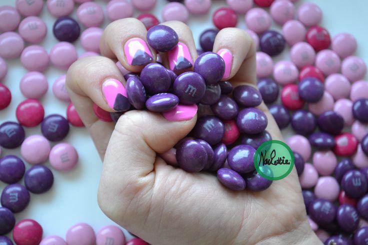 MnM inspired nail art #purpletriangles #pink&purple
