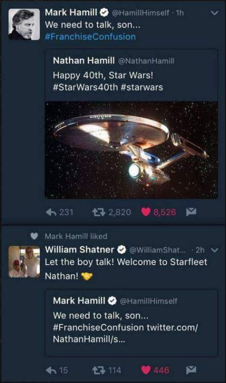 Don't confuse Star Wars and Star Trek around Mark Hamill.