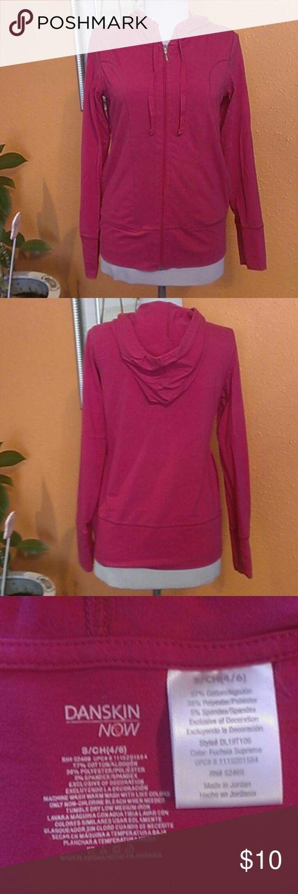 Sport Hoodie Jacket Danskin Sport Hoodie Jacket Danskin, 57%cotton, 38%polyester, 5%spandex, exclusive of decoration, color fiusha Danskin Jackets & Coats