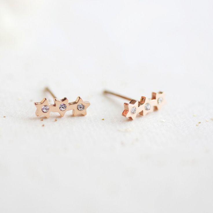 Cercei placati cu aur roz - 3 stelute - MSM-Shop