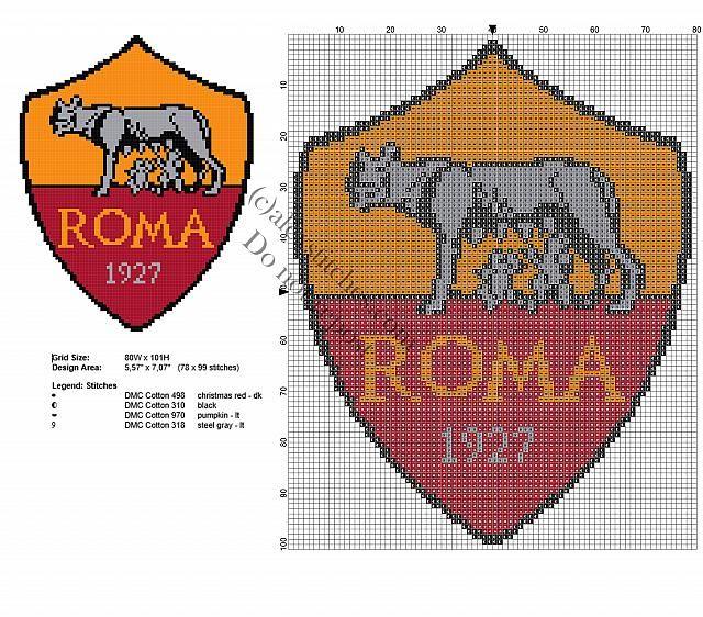 Roma Badge Logo Soccer Team Free Cross Stitch Pattern