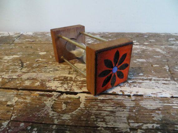 Danish Modern Egg Timer Hourglass Timer by VintageShoppingSpree, $26.00 1960s Materials: enamel, glass, wood, brass