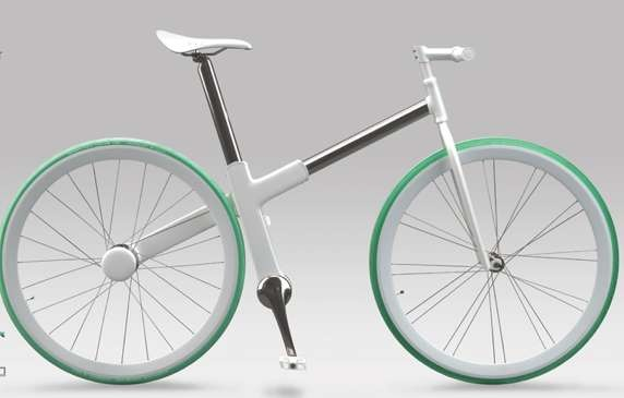 """Chainless """"Bike 2.0"""" by Nils Sveje has an in-crank generator for electricity transmission instead of a chain. Drive is transmitted through an automatic gearbox and the handlebar contains two wireless rings to charge or set the usage of the battery."""