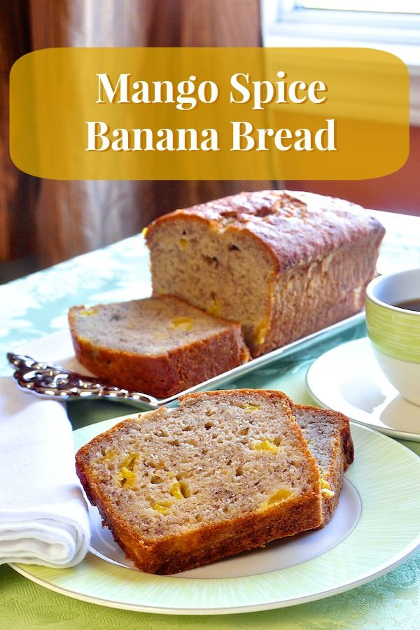 Mango Spice Banana Bread - A different mango and spice twist on a traditional banana bread. A great addition to packed lunches or as an afternoon snack. Makes a terrific bake sale contribution too.