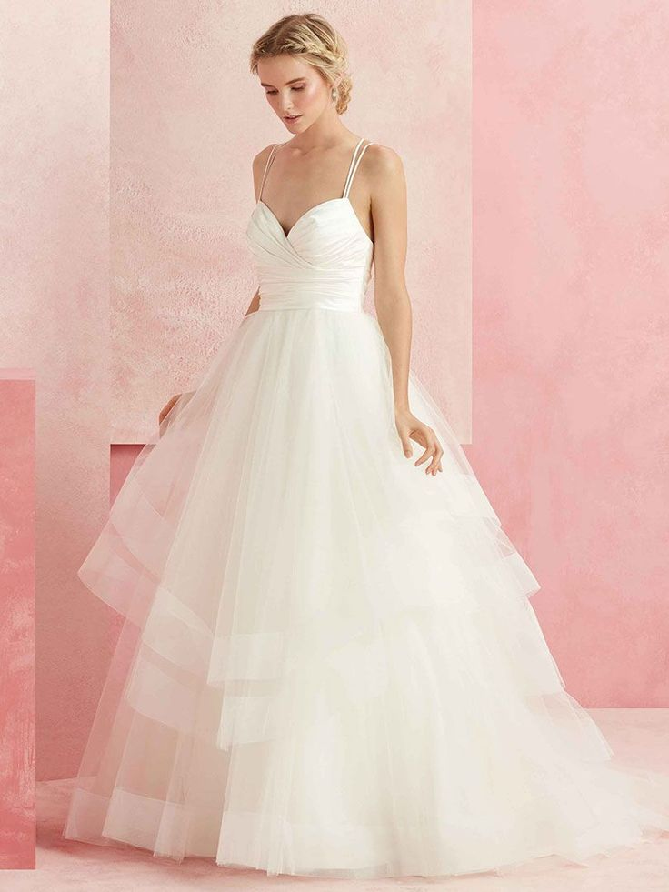 Delight is equal parts sophisticated and fun, from the sweetheart neckline down to the chapel train. A satin ruched bodice and double spaghetti straps that ...