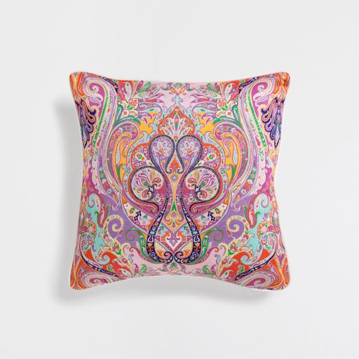 MULTICOLOUR PAISLEY PRINT CUSHION