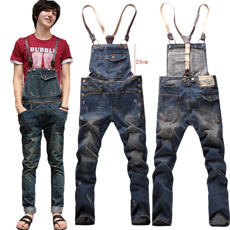 Suspenders multi-pocket jeans detachable suspenders bib pants holes denim overalls Free shipping $49.00