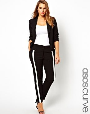 Slightly looser tee & this is outfit perfection.  ASOS CURVE Trousers in Monochrome