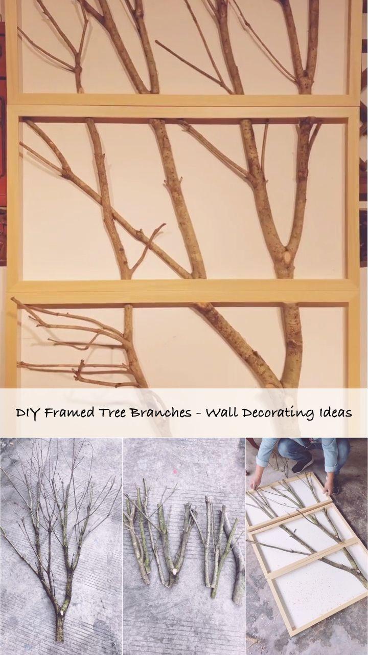 Diy Framed Tree Branches Wall Decorating Ideas Branches Decorating Diy Framed Ideas Tree Diy Wall Decor Cheap Tree Branch Decor Diy Tree Branch Decor