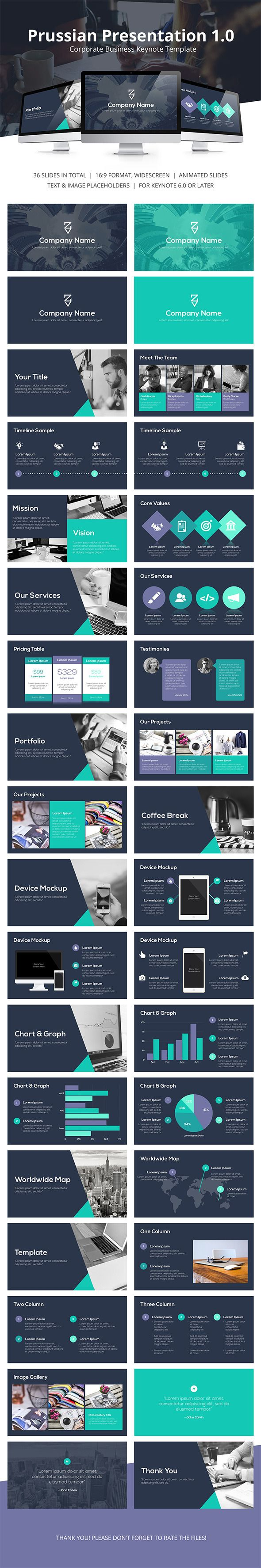 Prussian Business Keynote Template #design #slides Buy Now…
