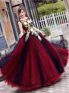Vestido de Baile de color borgoña con escote redondo De banda de encaje estilo princesa sin mangas de encaje