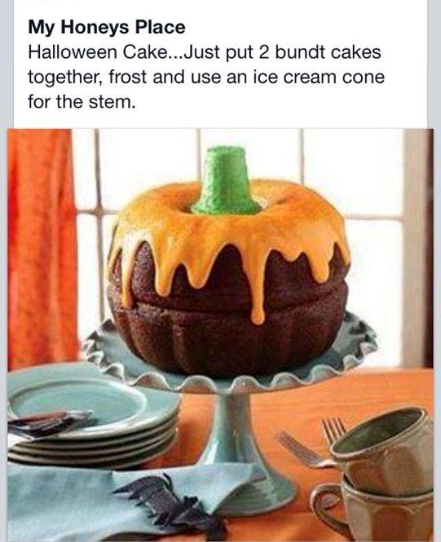 Torta zucca per Halloween, semplice e ad effetto: 2 ciambelle, un cono gelato e della glassa arancione!
