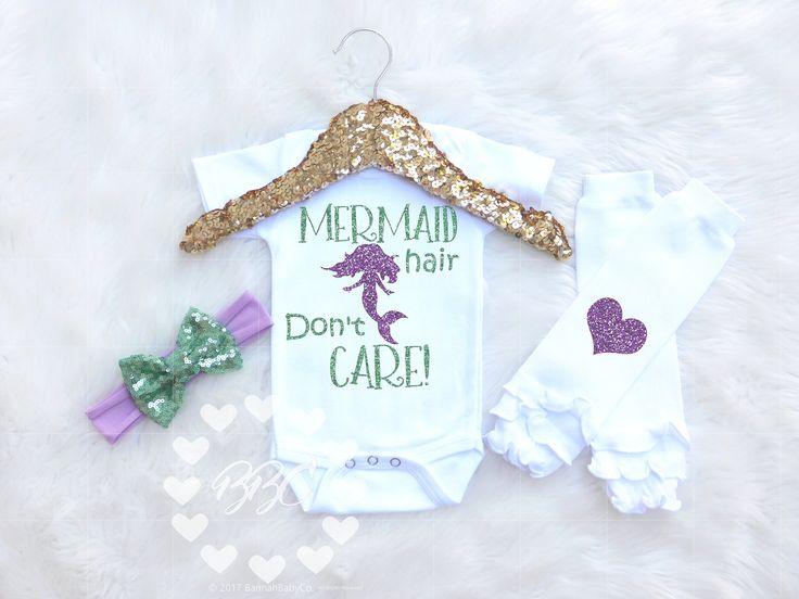 "Mermaid Outfit Baby Girl, Mermaid Birthday, ""Mermaid Hair Don't Care, Mermaid Theme Clothes, Glitter Little Mermaid, Mermaid Baby Shower by BannahBabyCo on Etsy"