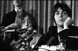 John Lennon, Paul McCartney, press conference announcing formation of Apple Records, NYC, 1968.