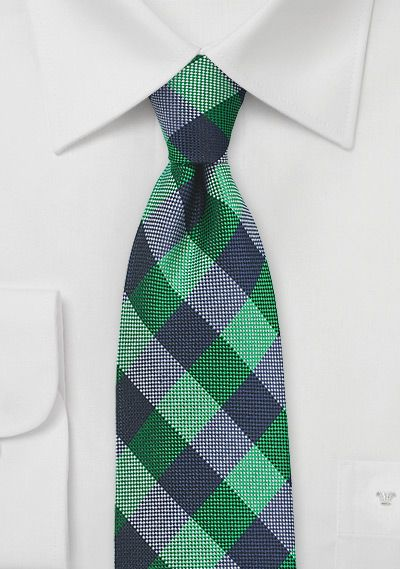 Bright Green and Blue Gingham Silk Tie