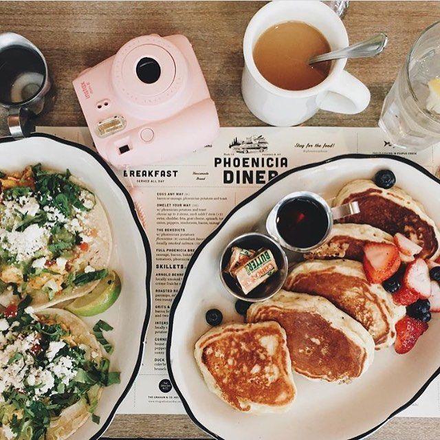 #regram @life_is_sweeeeet Still life with breakfast tacos, silver dollar buttermilk pancakes, pink camera #breakfasttacos #silverdollarpancakes #pinkcamera #instaxmini8 #stilllife #phoeniciadiner #phoeniciany #phoenicia #diner #catskills #hudsonvalley #ulstercounty #upstateny #eeeeeats
