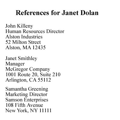 List of References Format - Separate From Resume