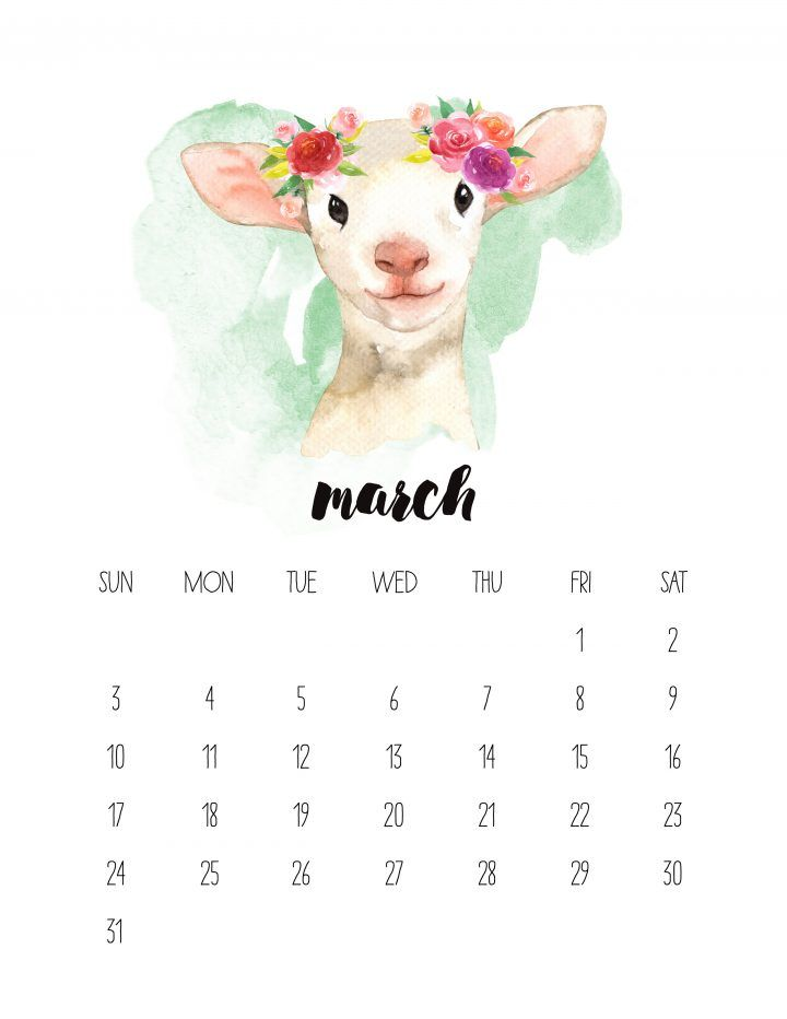 Animal 2019 Calendar Free Printable 2019 Watercolor Animal Calendar | Christmas | Free