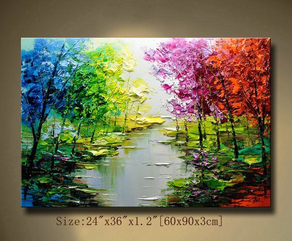 Contemporary Wall Art Palette Knife Painting Colorful Landscape Painting Wall Decor Home Decor Acrylic Textured Painting On Canvas Chen Wwmm Abstract Wall Painting Texture Painting Palette Knife Painting