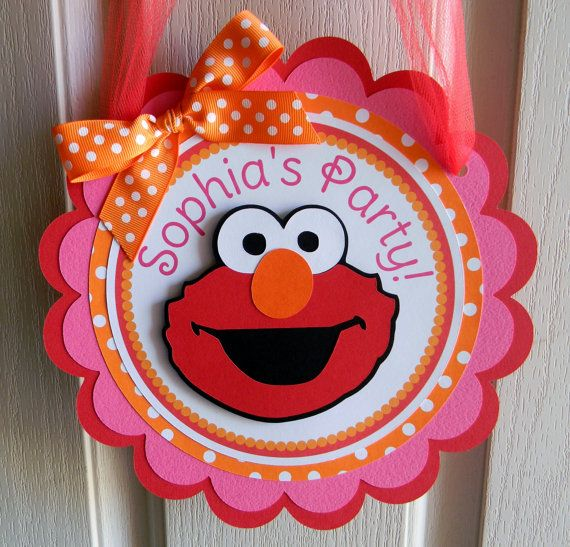 Elmo Birthday Party Door Sign in Red Orange by sweetheartpartyshop, $12.00