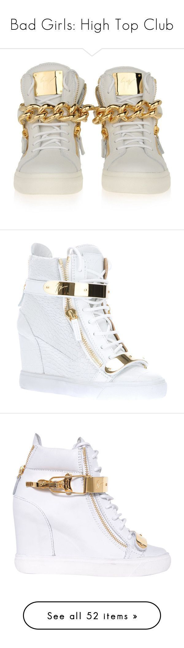 """""""Bad Girls: High Top Club"""" by jaiirie ❤ liked on Polyvore featuring shoes, sneakers, giuseppe zanotti, giuseppe zanotti sneakers, giuseppe zanotti trainers, giuseppe zanotti shoes, heels, white, leather wedge sneakers and white sneakers #giuseppezanottiheelswhite"""