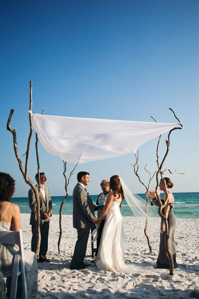 Rustic wedding canopy perfect for the beach
