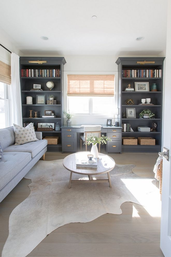 Built In Bookshelves Around Desk In Front Of Window Bookshelves Are Painted Benjamin Moore Cheating Hea Home Office Design Home Office Decor Guest Room Office