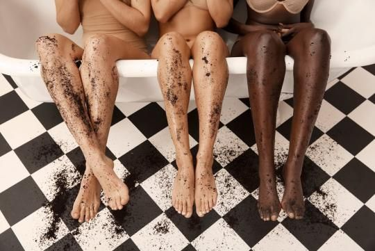 "In the @Frank_Bod universe, models are coated in coffee grounds, and puns like ""You have to get dirty before you get clean"" are a plenty. It all makes the messy act of exfoliation look especially glam. No one has a cellulite-related dimple. No one minds cleaning their ravaged bathtub."