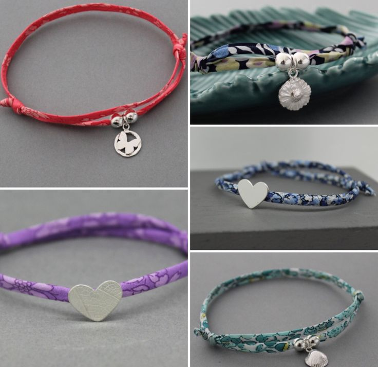 Check out these beauties... — Another really affordable gift idea are these cute bracelets combining individually handmade sterling silver hearts and charms and Liberty Print trim. They're just £15 with free delivery and well worth a look xx