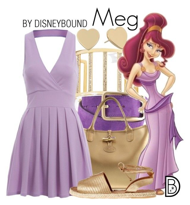 """Meg"" by leslieakay ❤ liked on Polyvore featuring GUESS by Marciano, Longchamp, AX Paris, Kaanas, Kate Spade, disney, disneybound and disneycharacter"