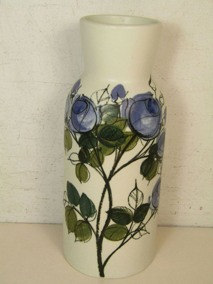Arabia Finland Hand-Crafted Vase By Hikka Liisa Ahola Painted Floral Design  | eBay