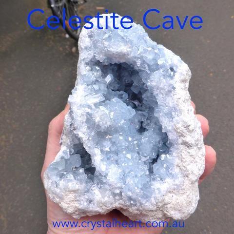 Celestite Double Cave   Madagascar   Nice colour & crystal formation   Gemini   Relax Clarify Mind   Crystal Heart Melbourne Australia since 1986