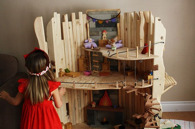 Wooden doll house...there are no words for how much I love this house...: Amazing Dolls, Wooden Dollhouse, Wooden Toys, Trees House, Big Trees, Dolls House, Dollhouses, Doll Houses, Amazing Dollhouse