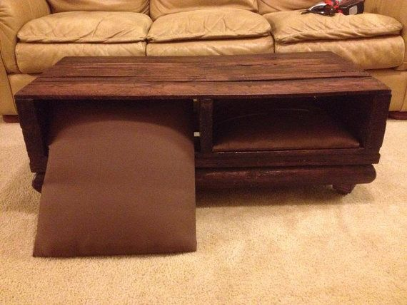 Wood Pallet Coffee Table   Custom   Rustic   Ottoman Pillows   One Of A Kind