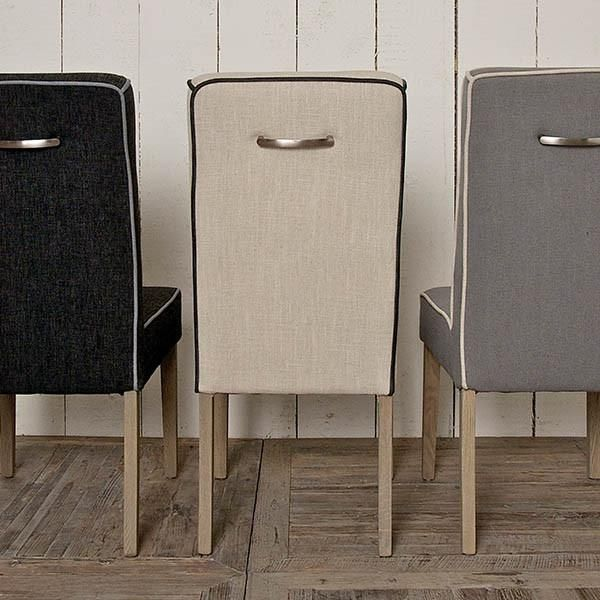 Fulham Grey Upholstered Dining Chair With Wood Legs