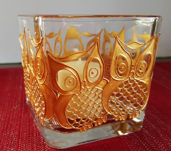 Hand Painted Golden Owl Candle Holder (candle included). These beautiful candles make the perfect addition to any decor. They also make amazing