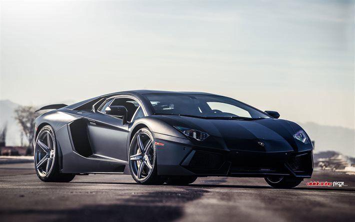 Descargar fondos de pantalla italian cars, Lamborghini Aventador, LP700-4, tuning, supercars, gray Aventador, Lamborghini