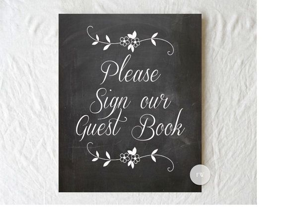 Chalkboard Wedding Sign Print - Guest Book / PhotoBooth / Gift Table  - READY TO SHIP
