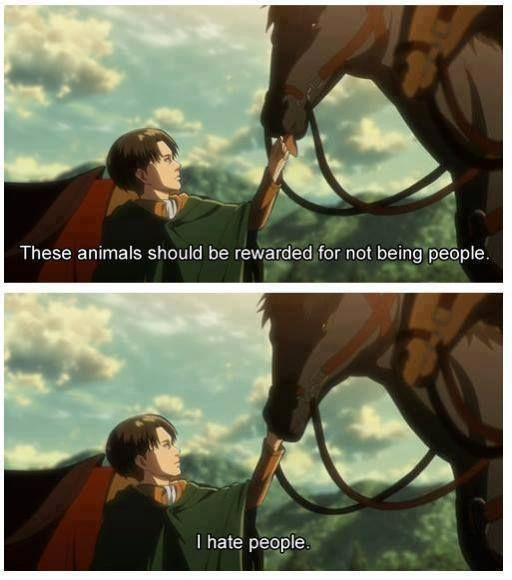 Shingeki no Kyojin- Levi Ackerman you speak my language people are dumbfucks