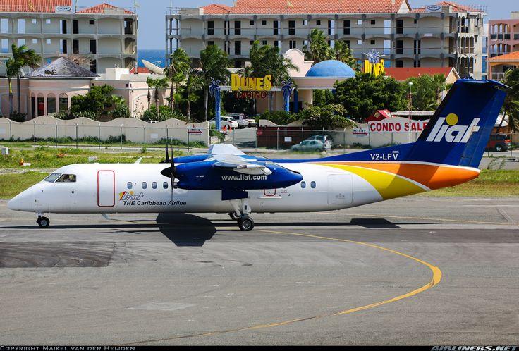 De Havilland Canada DHC-8-311 Dash 8, LIAT, V2-LFV, cn 283, 50 passengers, first flight 21.6.1991 (Hamburg Airlines), LIAT delivered 5.7.2002. Foto: Philipsburg, St. Maarten, 24.8.2013.