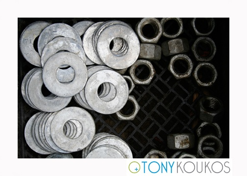 bolts, steel, stacked, pile