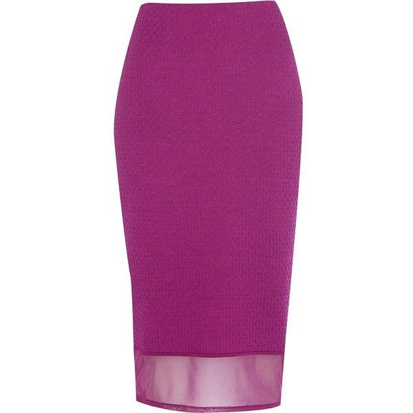 River Island Purple mesh hem textured pencil skirt ($15) ❤ liked on Polyvore featuring skirts, pink, sale, elastic waist skirt, pencil skirt, mesh pencil skirt, knee length pencil skirt and mesh skirt